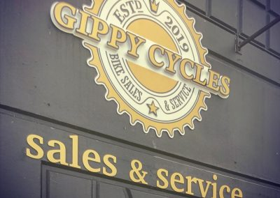 3D router cut lettering for Gippy Cycles