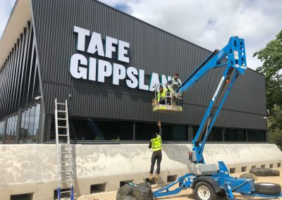 3D illuminated lettering for TAFE Gippsland Morwell