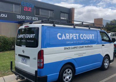 Carpet Court van partial wrap with custom Avery colour